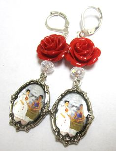 Frida Kahlo Earrings Day of the Dead Jewelry by sweetie2sweetie, $15.99