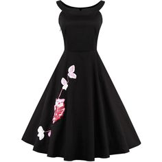 Black Floral Embroidery Pleated Sleeveless A Line Vintage Dress (88 PEN) ❤ liked on Polyvore featuring dresses, day dresses, embelished dress, embellished dresses, vintage pleated dress, cotton dress and pleated a line dress