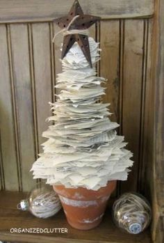 Tree made from book pages.