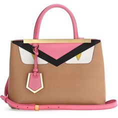 Fendi Petite Monster 2Jours Tote Bag (£1,630) ❤ liked on Polyvore featuring bags, handbags, tote bags, leather bag satchel, satchel tote, beige leather tote, fendi tote and leather handbags