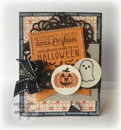 The Stamping Scrapbooker: Reverse Confetti Spooky Cuties and Spooky Sentiments I used some older halloween paper, Witch Hazel by October Afternoon. I also went around the border of the card and stamped the little scroll border from Spooky Sentiments in white ink.