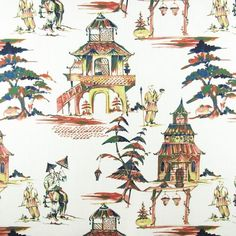 Chinoiserie Fabric, Furniture Upholstery, Fabric Patterns, Hamilton, Screen Printing, Gazebo, Asian, Pictures, Painting