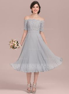 [US$ 127.19] A-Line/Princess Off-the-Shoulder Tea-Length Chiffon Lace Bridesmaid Dress With Bow(s) Pleated