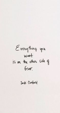 Fear - everything you want is on the other side of it
