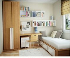 Boxy shelving for storage above desk (possibly hide storage with doors or baskets)