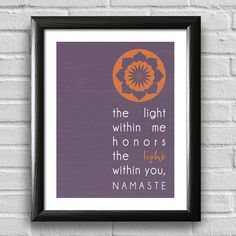 Namaste Print,Yoga Print, Yoga Studio Decor, Typography Poster, Wall Art, Inspirational Print, Yoga Poster, Motivational Art