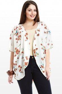Plus Size Kylie Floral Print Kimono