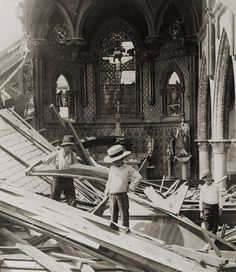 """Cleaning up St. Patrick's church in Galveston after the fierce 1900 hurricane, which has subsequently been labeled """"Isaac's Storm.""""  An unbelievably great image, despite the destruction it depicts."""