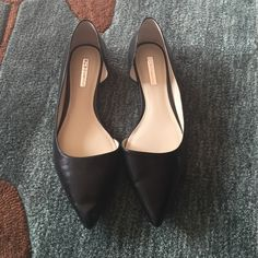 Black leather d'orsay flats Only worn once. Black leather pointed toe d'orsay flats. Size 8. Comes with box BCBGeneration Shoes Flats & Loafers