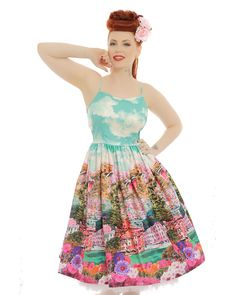'Marlene' Turquoise Riviera Print Swing Dress
