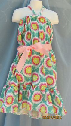 Halter Sun Dress in Pink Peony Fabic Size 8 by hammies on Etsy, $19.00
