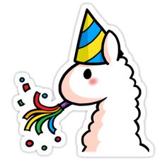 """""""Happy Birthday Llama"""" Stickers by YamPuff Stickers Cool, Bubble Stickers, Kawaii Stickers, Printable Stickers, Laptop Stickers, Happy Birthday Llama, Happy Birthday Drawings, Kawaii Drawings, Cute Drawings"""