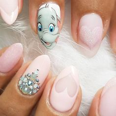Inspiring Disney Nails Ideas For You To Try in 2019 - Nageldesign - Nail Art Disney, Disney Acrylic Nails, Disney Nail Designs, Best Acrylic Nails, Acrylic Nail Designs, Simple Disney Nails, Princess Nail Designs, Cartoon Nail Designs, Disney Princess Nails