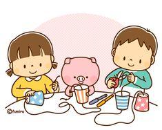 糸電話を作る子どもたちのイラスト(ソフト)