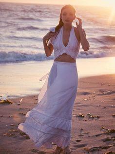 Free People halter crop-top wedding dress for a beach wedding
