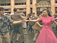 Dancing at the Heartland Swing Festival Friday night in a dress I made myself from a 1940's vintage pattern.