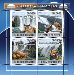 SAO-TOME-WATERFALL-ANIMALS-TIGER-BIRDS-CAMEL-RED-PANDA-S-S-MNH-C8-ST8204