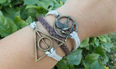 Hunger bracelet,mockingjay pin bracelet,games bracelet,Harry Potter bracelet,leather bracelet,hipsters jewlery,gray and brown on Wanelo