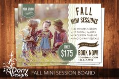 Fall Mini Session Template Photography Marketing board - Photoshop template Instant Download - BUY 1 GET 1 FREE: ms-414