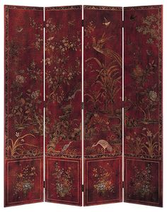 Fashion 4 Pcs Butterfly Bird Flower Hanging Screen Partition Divider Panel Room Curtain Home Decor Red SODIAL R