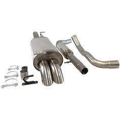 Supersport Edelstahl Auspuffanlage 63,5mm passend f�r AUDI A3 I 3+5-T�rer, Typ(en) 8L, 1.6, 1.8, 1.8T(Otto 74, 75, 92, 98, 110KW) 1.9TDi (Diesel 66, 74KW), Bj. 08/96-04/03, Frontantrieb, Endrohr(e) 2x 76mm nach unten gebogen - inkl. Auto Staubsauger Fugend�se