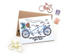 Wedding Tandem Bicycle Card | Wedding Congratulations Original Calligraphy Brush Lettering Blue Doub