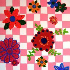 Painting with flowers- schilderij met bloemen- http://www.galerie-lucie.nl/