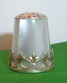 A Superb Silver Thimble 7 Sided Mother of Pearl Clad Coronet