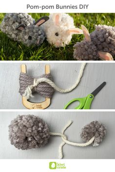 Pom-pom Bunnies DIY! There's nothing sweeter in the spring than fuzzy little animals... even sweeter when they're made by hand! I had so much fun making pom-pom bunnies and loved the end result.