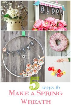 DIY Spring Crafts | Oh how I love a pretty wreath. They are usually simple to make and add pizzazz to a plain front door. Here are five spring wreath tutorials - all from repurposed materials!