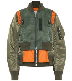 Sacai Layered Bomber Jacket In 501 Khaki Nylon Bomber Jacket, Flight Bomber Jacket, Printed Bomber Jacket, Green Bomber Jacket, Wool Suit, Faux Leather Jackets, Menswear, Clothes, Men Fashion