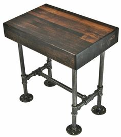 side table made from plumbing pipe and wood