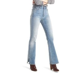 Gap Leg lengthening, with attitude to boot.  Premium, medium stretch denim.  Light indigo wash with fading throughout and subtle whiskering.  Zip fly, button c…