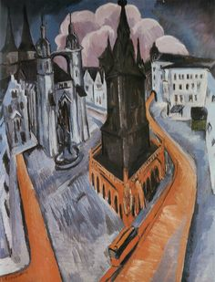 The Red Tower in Halle via Ernst Ludwig Kirchner Size: 120x91 cm Medium: oil on canvas