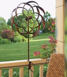 Pinwheel Deck Rail Mount Wind Spinner, Pinwheel Whirligigs, Deck or Porch Rail Mount Wind Spinners at Fiddle Creek Farms