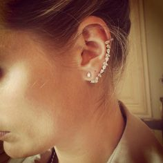 Multiple Ear Piercings: 30 Combinations to Copy | diamond earcuff | StyleCaster