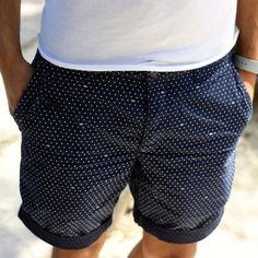 Navy Cotton Shorts with White Pin dots Men's Spring Summer Fashion, Summer Wear, Stylish Men, Men Casual, Look Con Short, Outfit Trends, Dapper Men, Cotton Shorts, Summer Styles