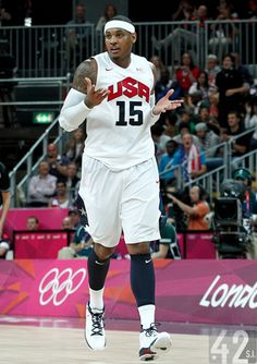 71101b814 Carmelo Anthony does the Michael Jordan shrug ...He learned from the MASTER  Mary