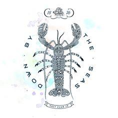 Lobster - Salt Club 76 - Down by the Sea Canvas Print