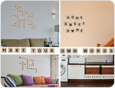 Make your own words using scrabble wall stickers!