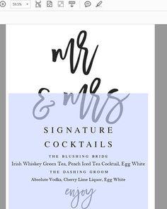 Navy Mr And Mrs Signature Cocktails Template Wedding Bar Menu
