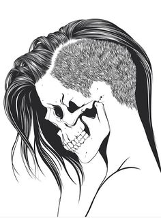 Skull girl with a side shave