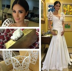 the dress inside without the form is divine! Maria Clara Dress Philippines, Modern Filipiniana Gown, Filipiniana Wedding, Heart Evangelista, Filipino Wedding, Philippines Fashion, Corporate Attire, Hair Shows, Bridal Wedding Dresses