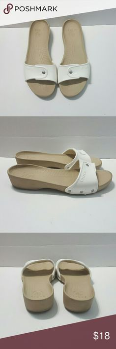 a6df857b1362aa Crocs Women s sandals slides Tan White Size 11 Crocs women s sandals. Size  11.