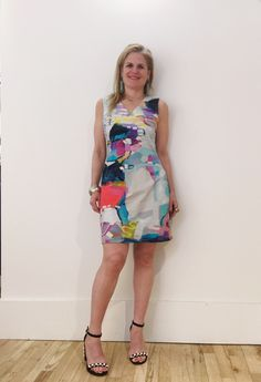 "Cotton Spandex Shift features the original artwork of Canadian #artist Claire Desjardins. The print: ""Can't Wait"". #ClaireDesjardins #ClaireDesjardinsApparel #WearableArt #ArtAndFashion #FashionAndArt #DesignerClothing #DesignerApparel #WomensWear #AbstractArt #AbstractPainting #CarreNoir #Fashion #ArtClothing #ArtistOnInstagram #ArtistOfInstagram #Clothing #Apparel #WomensApparel #WhereFashionMeetsArt #WhereArtMeetsFashion #Dresses #Dress #Blouse #Jacket #sundress"