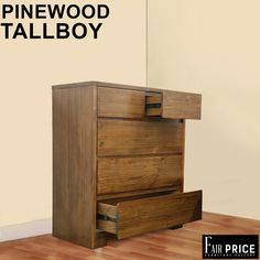 Chestnut tallboy is crafted with Pinewood and has 5 spacious drawers. the design is modern and simple.