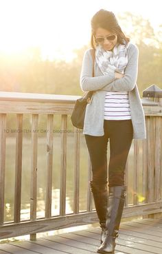 striped top, grey cardigan, black riding boots