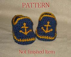 Thursday Handmade Love Week 67 Theme: Sailor Includes links to #free #crochet patterns Baby Boy Sailor Booties, Photo Prop - Instant Download Crochet Pattern PDF50 via Etsy