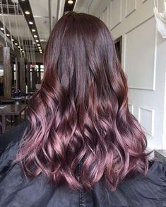 Ultra glossy, ultra lush ✨✨ Lustrous ombre hair color in beautiful shades of sugary plum. Ultra glossy, ultra lush ✨✨ Lustrous ombre hair color in beautiful shades of sugary plum. Purple Balayage, Pink Ombre Hair, Hair Color Balayage, Hair Highlights, Plum Hair, Color Highlights, Brown Hair Ombre Purple, Pink Brown, Subtle Purple Hair
