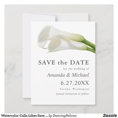 Engagement Party Invitations, Save The Date Invitations, Save The Date Cards, Modern Wedding Save The Dates, Nautical Wedding, Card Maker, Calla Lily, Floral Watercolor, Wedding Stationery